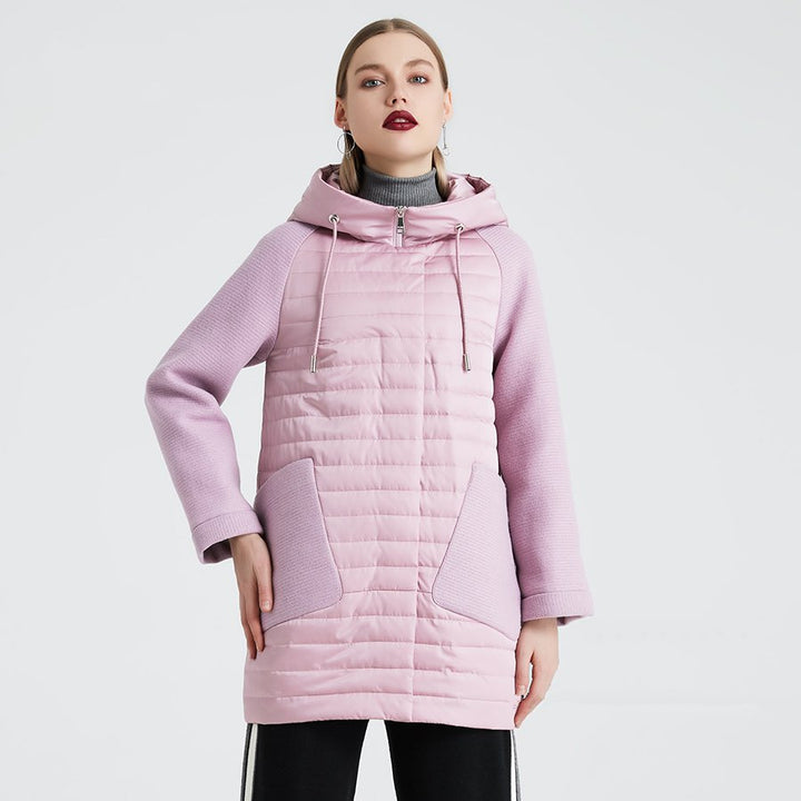 Women's Spring/Autumn Polyester Patchwork Hooded Coat
