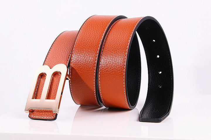 Women's Casual Leather Belt With B-Shaped Buckle