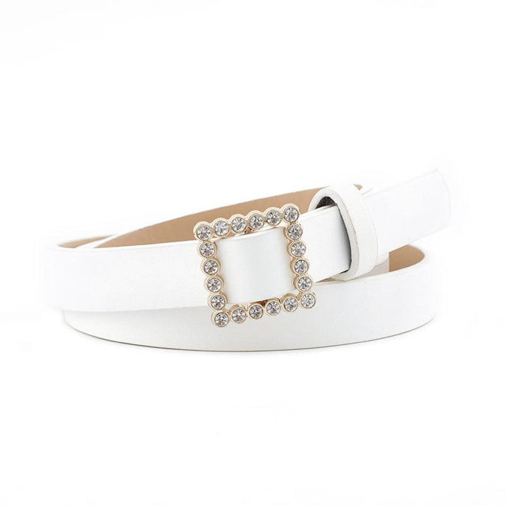 Women's Leather Belt With Square Buckle