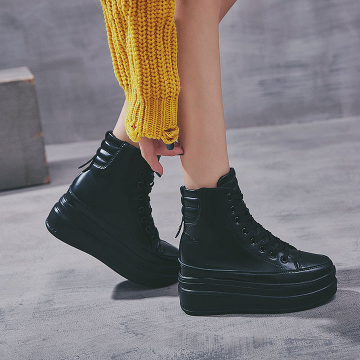 Women's Casual Leather Platform Shoes