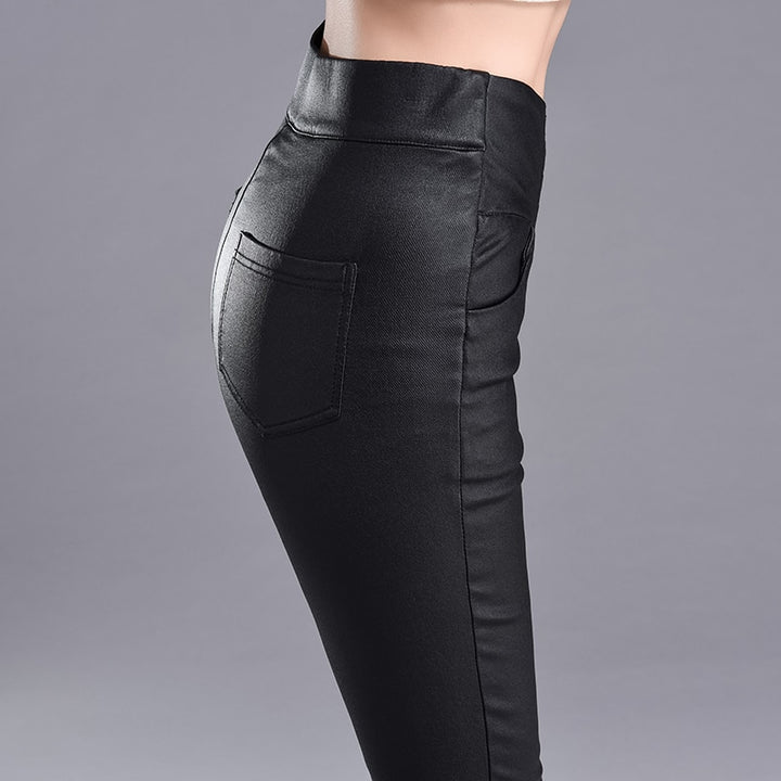 Women's Casual Leather High-Waist Skinny Leggings