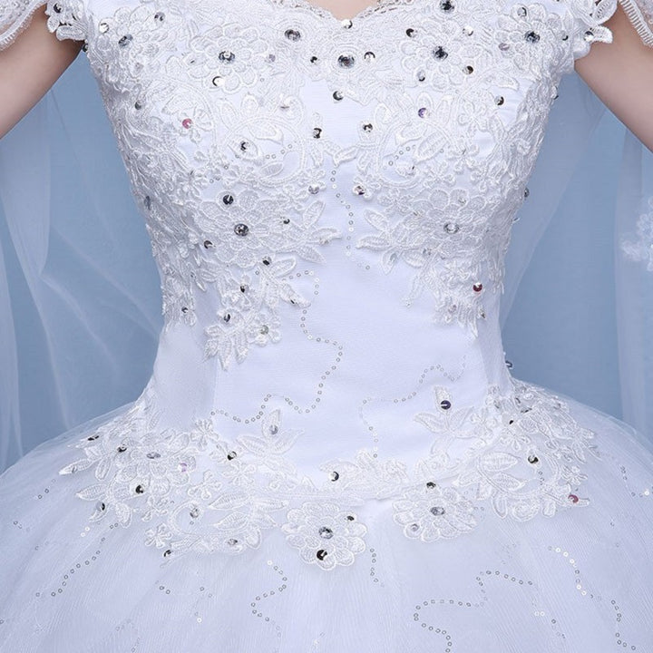 Women's Lace-Up Off-Shoulder Wedding Dress With Beads
