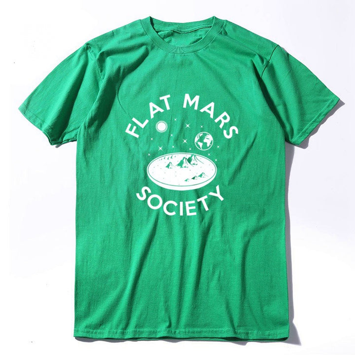 "Men's Summer Cotton Loose T-Shirt ""Flat Mars Society"""