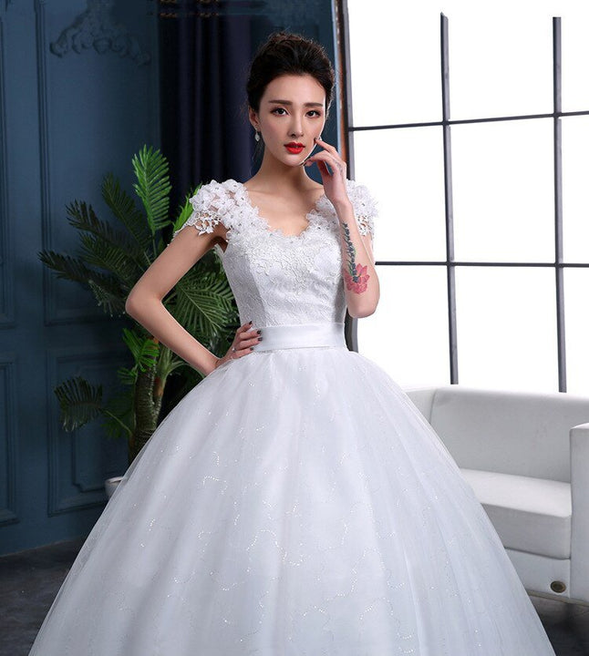 Women's Lace Long Wedding Dress With Court Train