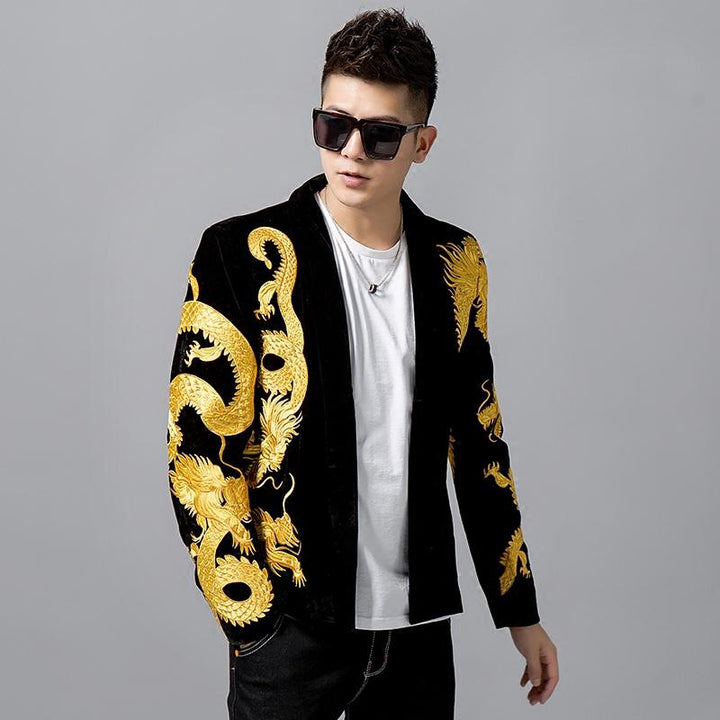 Men's Slim Fit Blazer With Embroidered Dragons