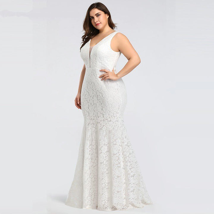 Women's V-Neck Lace Long Sleeveless Wedding Dress