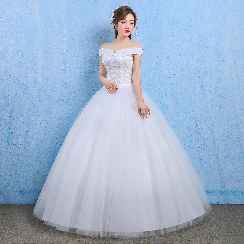 Women's Long Off-Shoulder Wedding Dress With Lace-Up