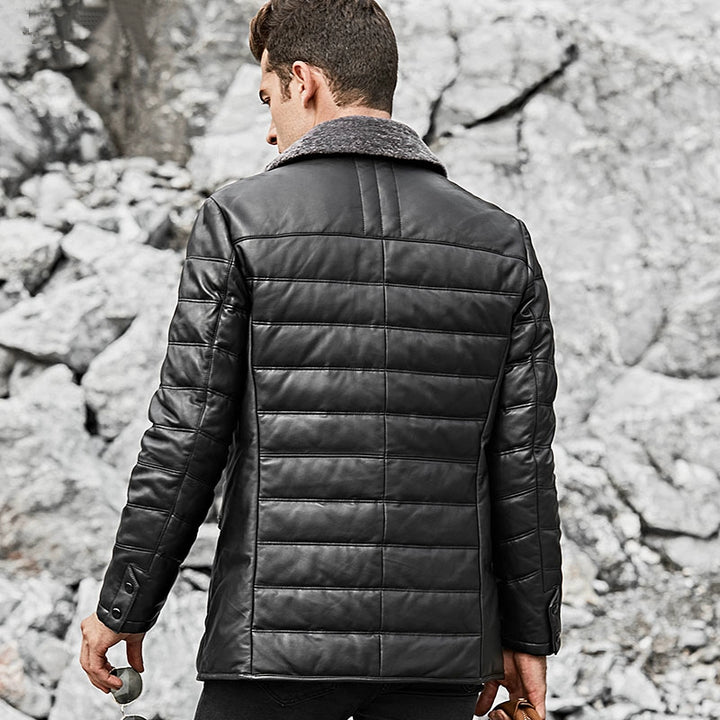 Men's Winter Genuine Leather Jacket With Fur Collar