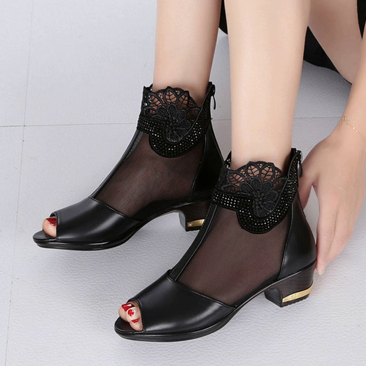 Women's Summer Ankle Boots With Square Heels
