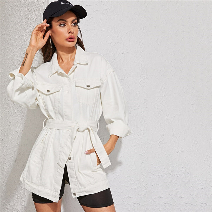 Women's Spring Casual Belted Denim Coat With Pockets