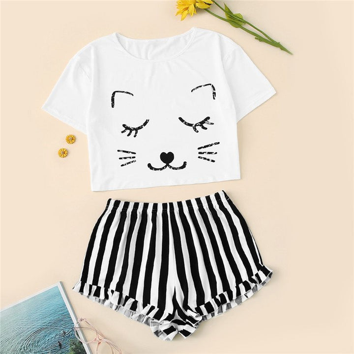 Women's Casual O-Neck Short-Sleeved Sleepwear With Cat Print