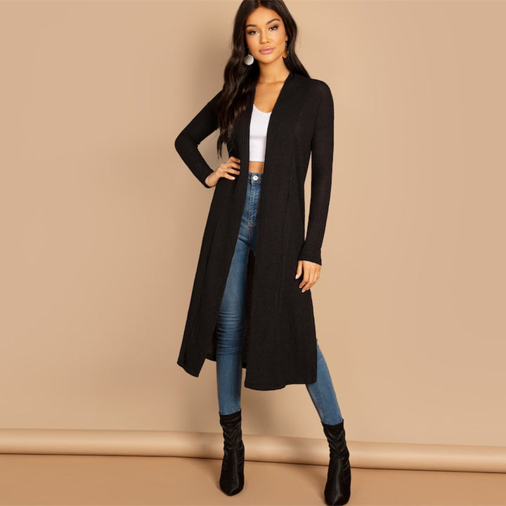 Women's Spring Casual Solid Long Cardigan