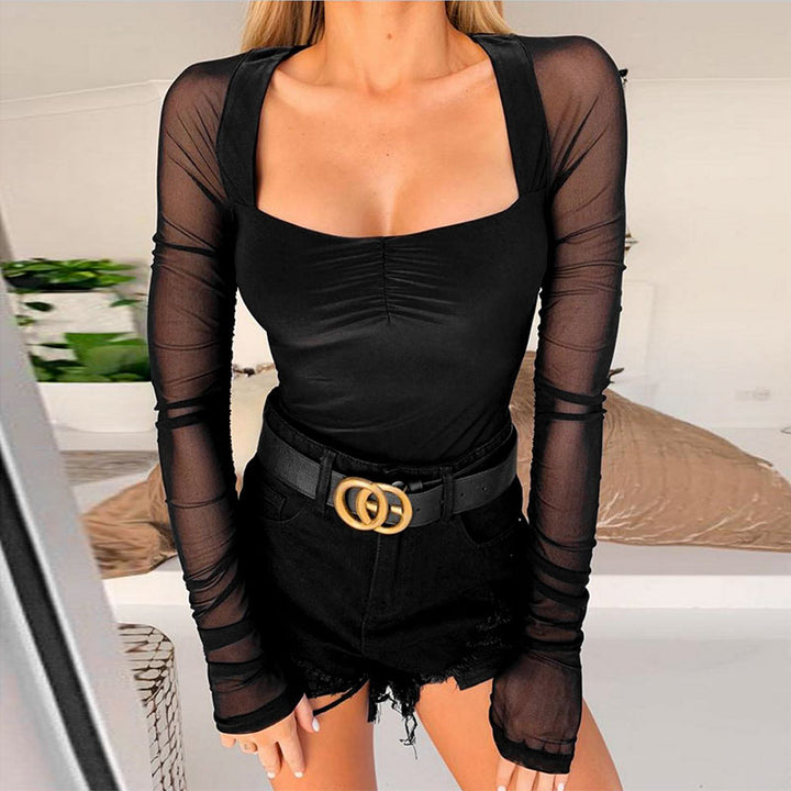Women's Summer Mesh Elastic Long-Sleeved Bodysuit