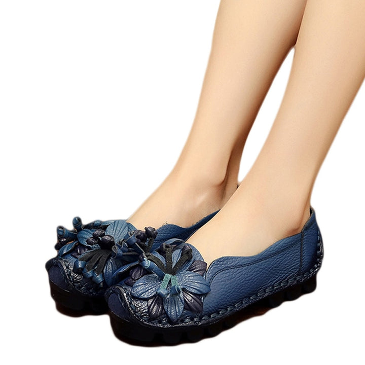 Women's Summer Genuine Leather Flats With Flowers