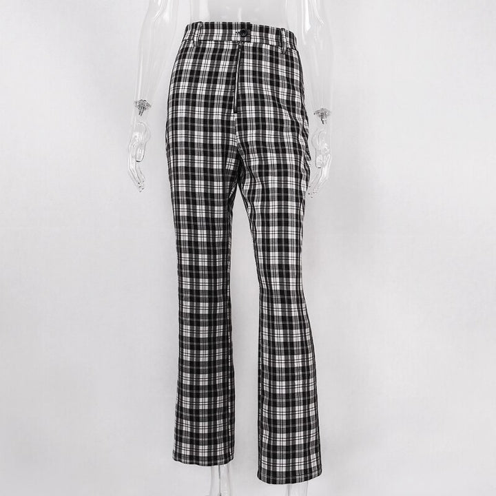 Women's Summer/Autumn Casual High Waist Plaid Straight Pants