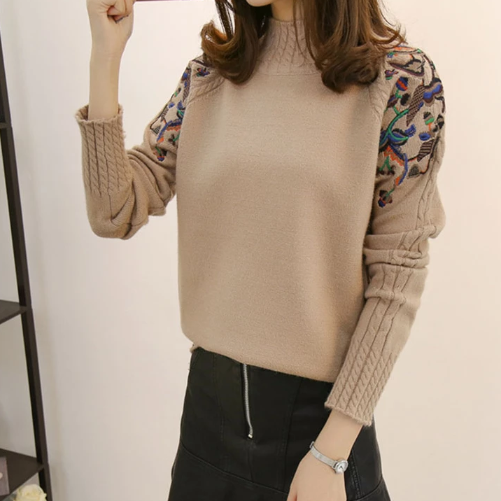 Women's Casual Cashmere Floral Loose Pullover
