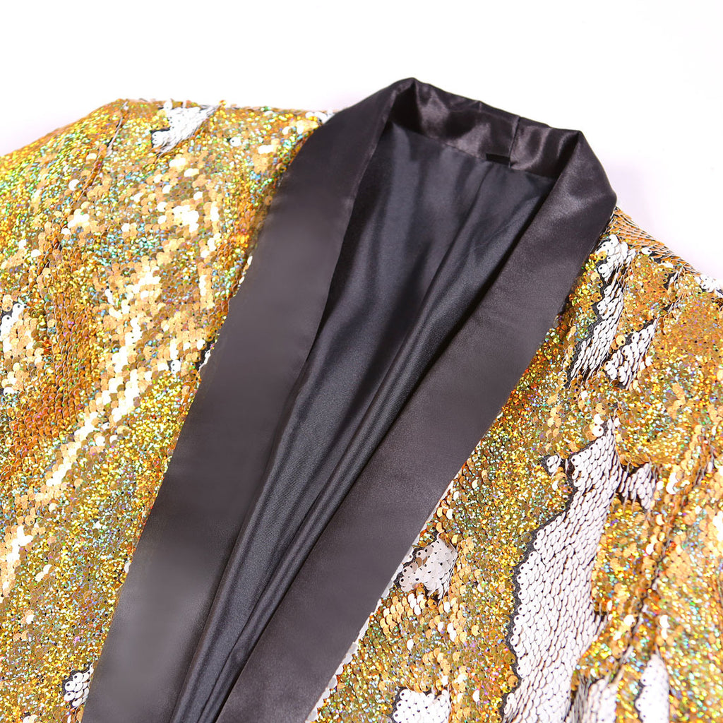 Men's Double Colored Blazer With Sequins