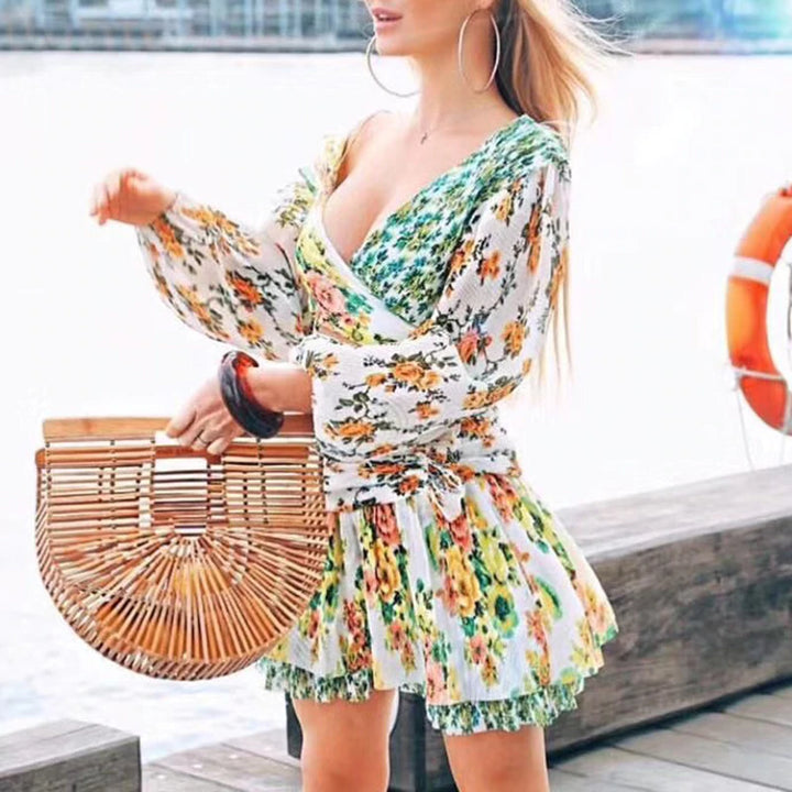 Women's Casual Long-Sleeved Mini Dress With Print