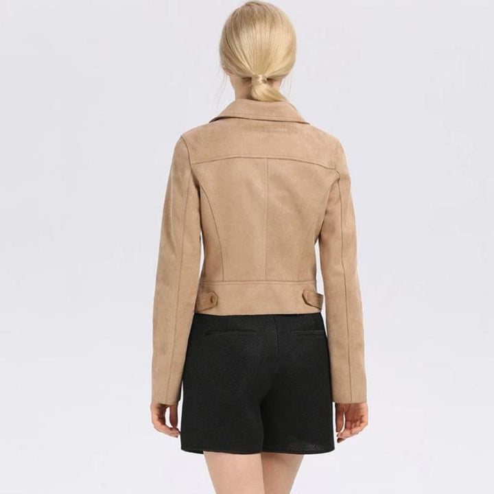 Women's Casual Slim Faux Leather Coat With Zippers