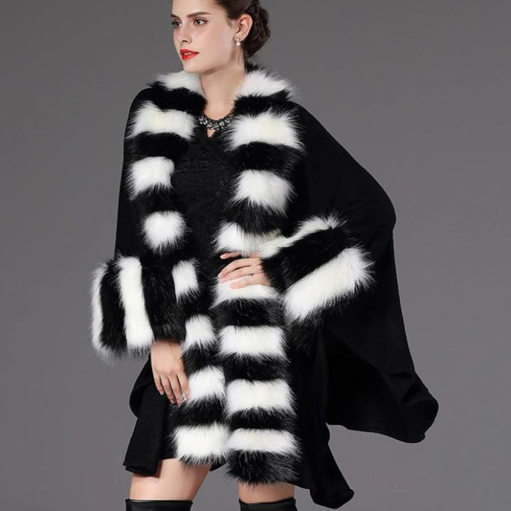Women's Winter O-Neck Poncho With Thick Warm Faux Fur