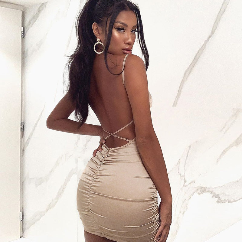 Women's Ruched Bodycon Silk Backless Mini Dress