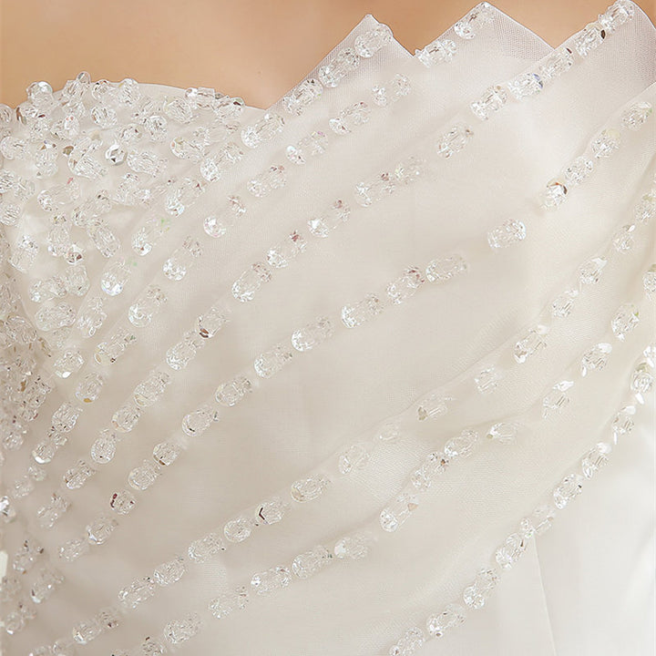 Women's Sequined Sleeveless Lace-Up Long Wedding Dress