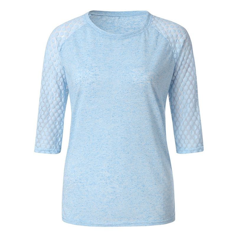 Women's Casual Polyester O-Neck Blouse With Lace