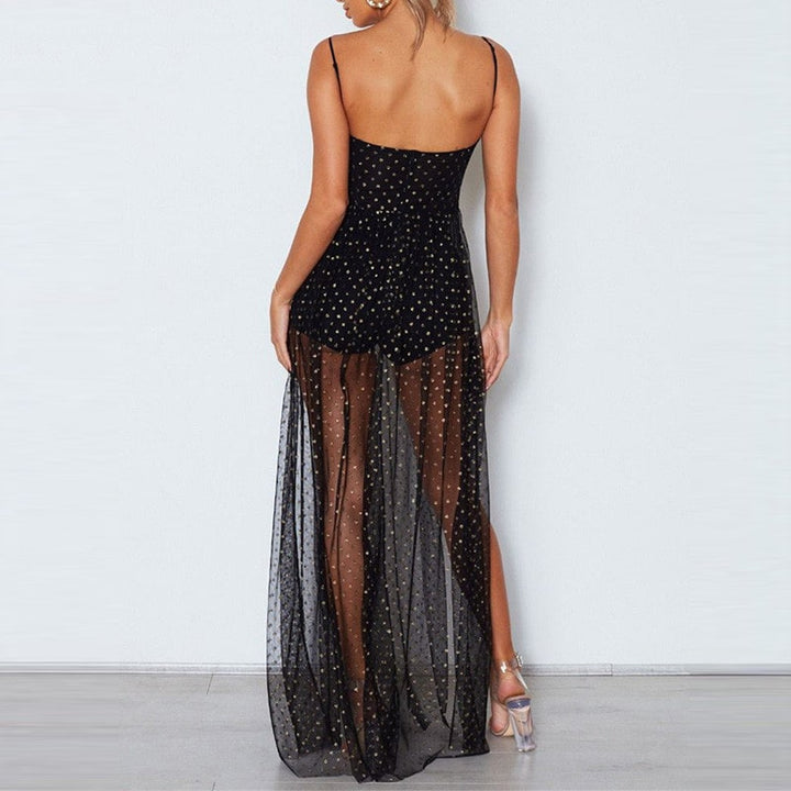 Women's Summer Mesh A-Line High-Waist Long Dress