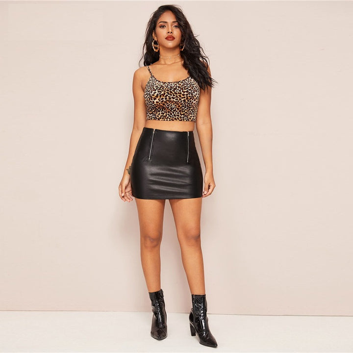Women's Bodycon PU Leather Mini Skirt With Zipper