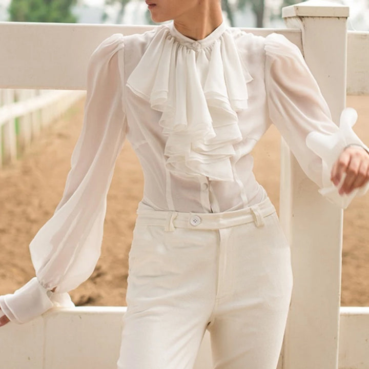 Women's Spring Chiffon Long-Sleeved Blouse With Buttons