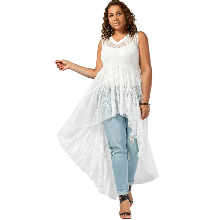 Women's Casual Lace V-Neck Long Blouse | Plus Size