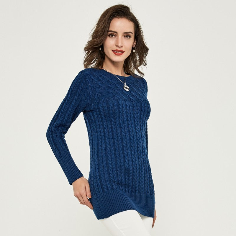 Women's Slim Sweater With O-Neck - Zorket