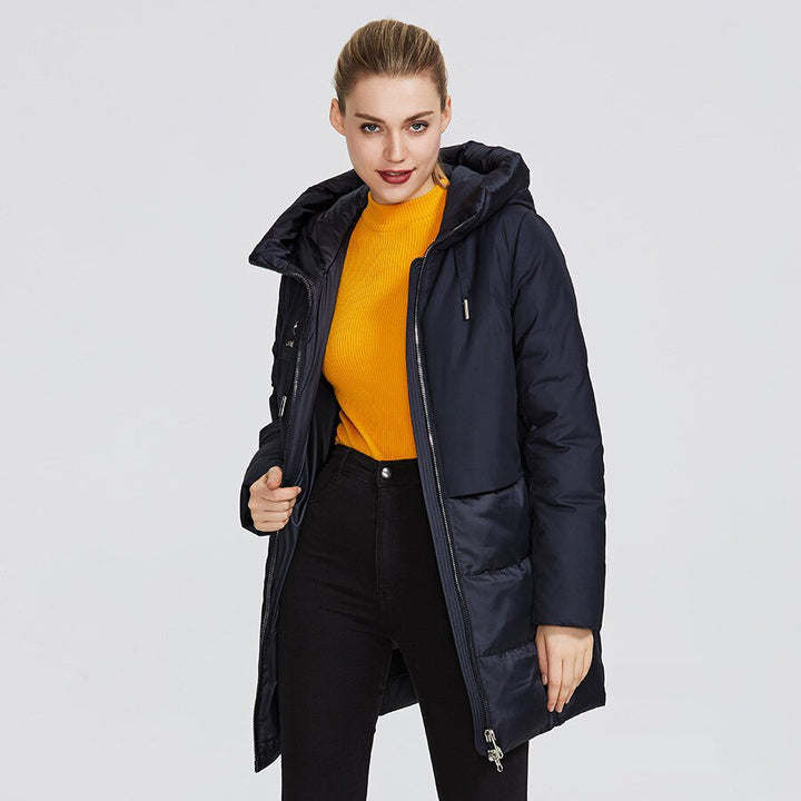 Women's Winter Wind-Resistant Hooded Polyester Parka