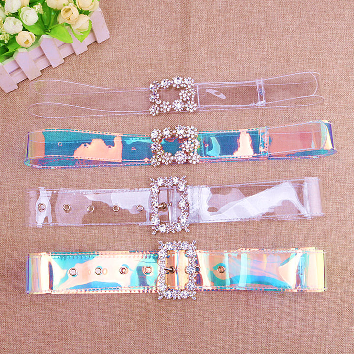 Women's Transparent Belt With Square Buckle