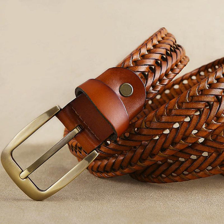 Men's Genuine Leather Braided Belt