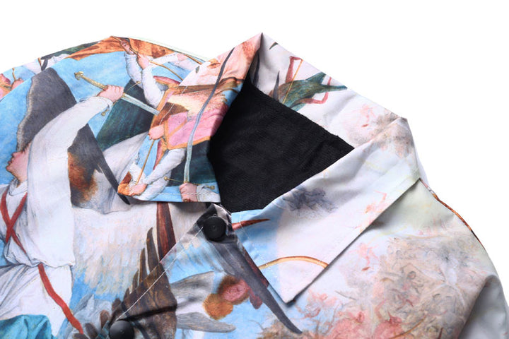Men's Single Breasted Windbreaker With Print