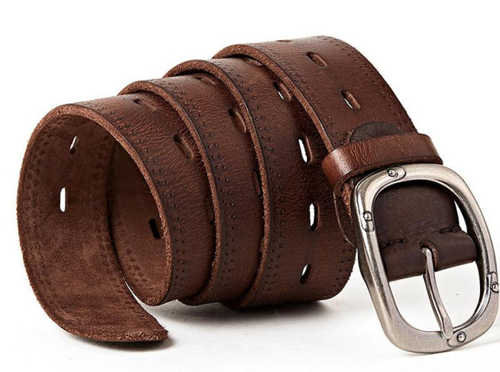 Men's Genuine Leather Belt With Pin Buckle