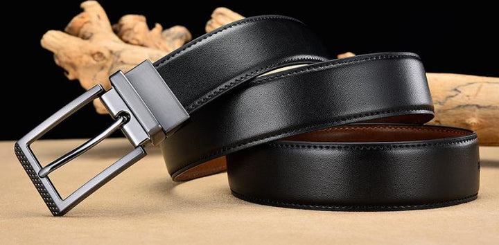 Men's Leather Reversible Belt With Pin Buckle