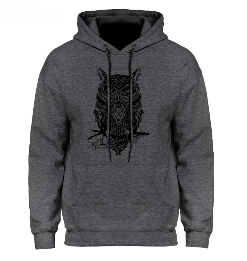 Men's Spring/Autumn Casual Hooded Sweatshirt With Owl Print