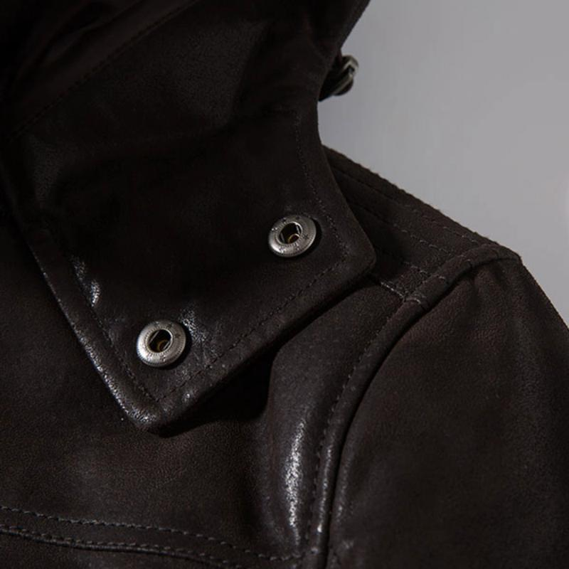 Men's Winter Genuine Leather Jacket With Removable Hood And Collar