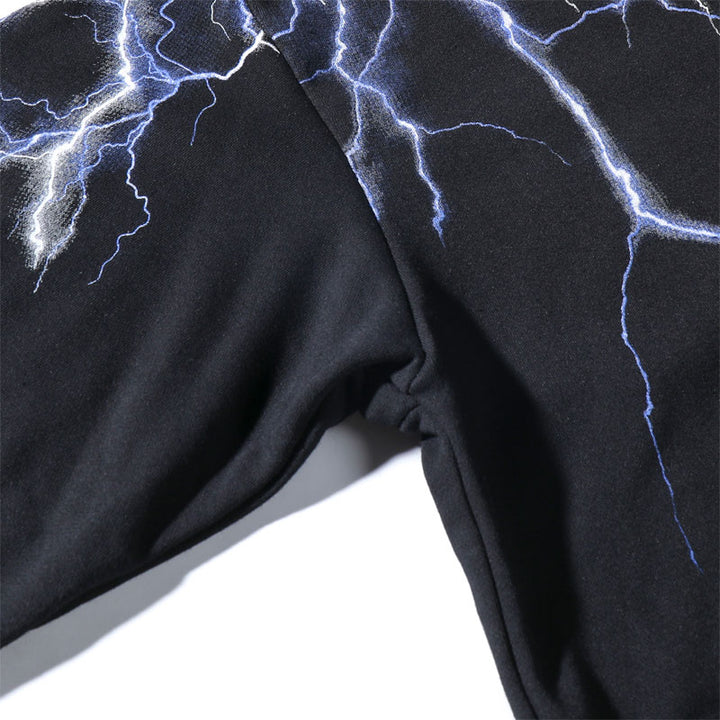 Men's Casual Hooded Sweatshirt With Lightnings Print