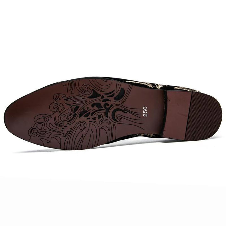 Men's Casual Suede Loafers With Embroidery