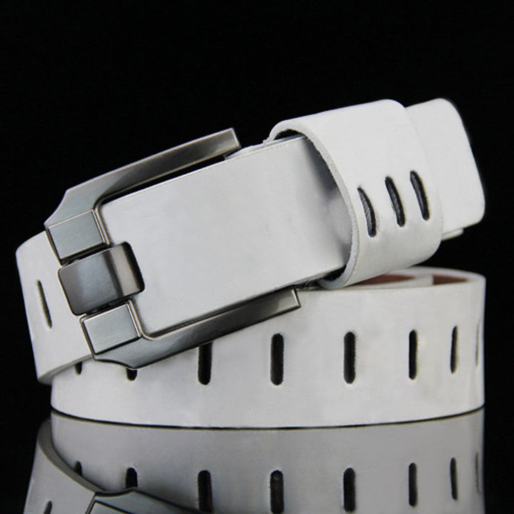 Men's Leather Belt With Pin Buckle