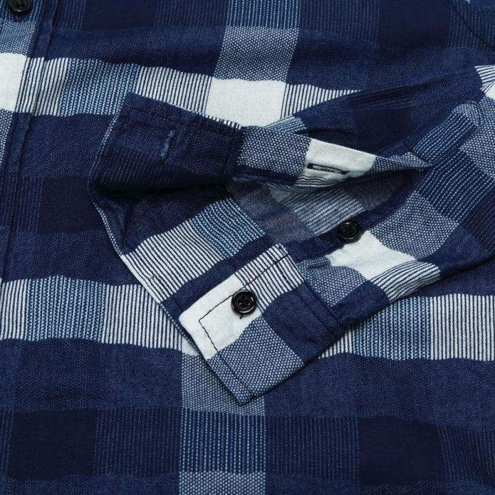 Men's Casual Plaid Long Sleeved Shirt | Plus Size