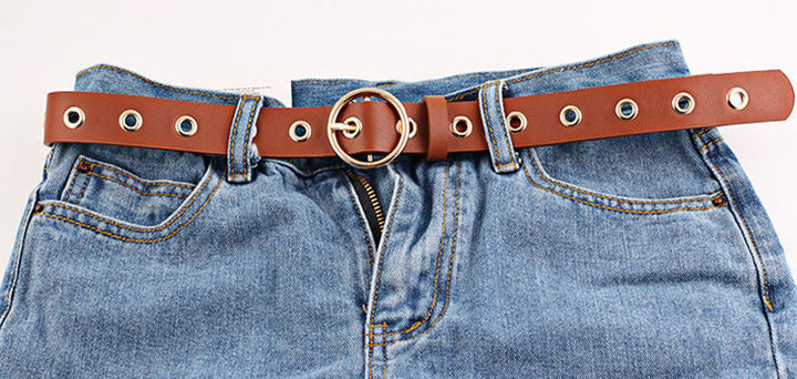 Women's Leather Belt With Pin Buckle