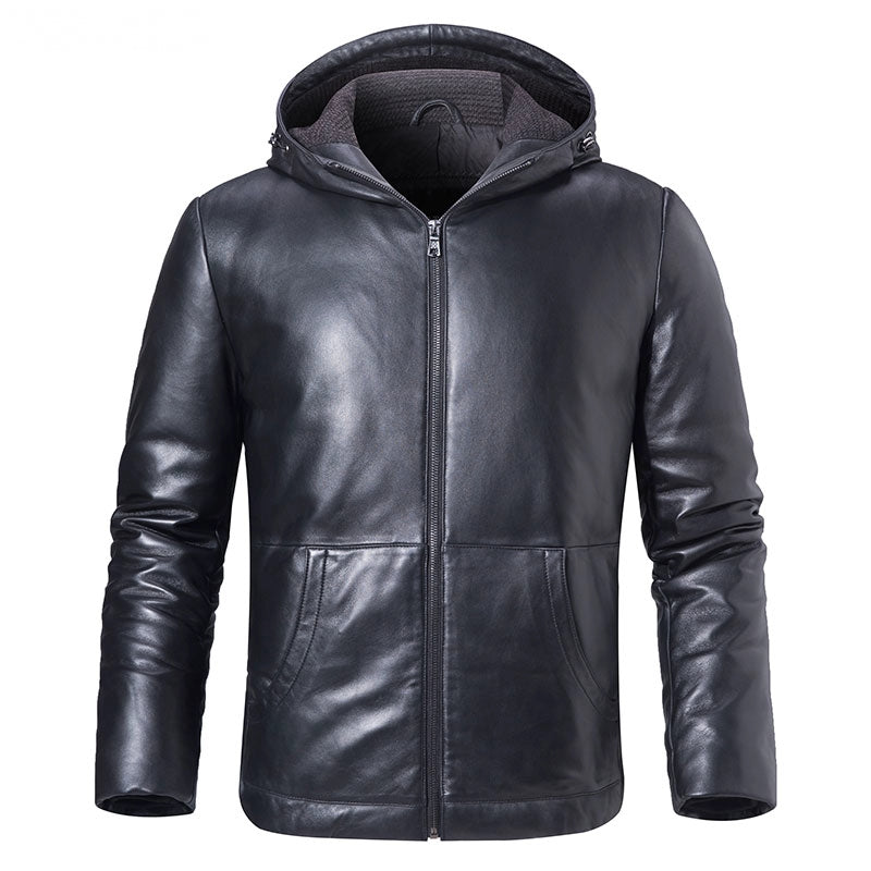 Men's Winter Genuine Leather Hooded Jacket