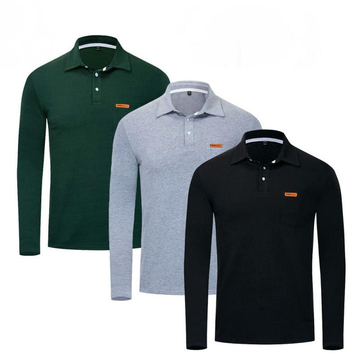Men's Casual Cotton Long Sleeved Polo | Plus Size