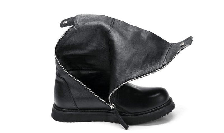 Men's Genuine Leather Platform Boots With Zippers