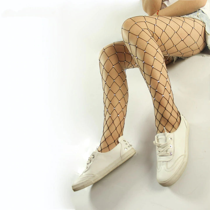 Women's Spandex Big Mesh Tights With Crystals