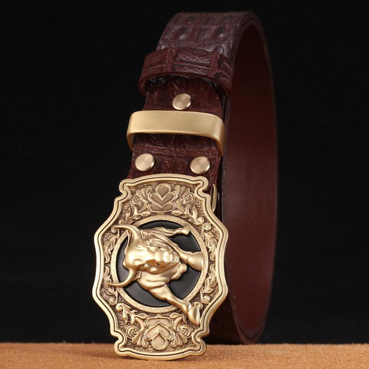 Men's Genuine Leather Belt With Copper Buckle
